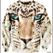 sweater,blue eyes,hoodie,leopard print,animal face print,shirt
