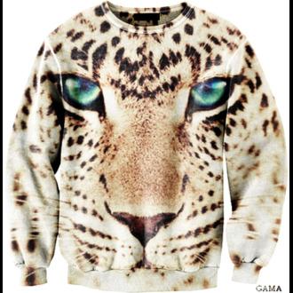 sweater blue eyes hoodie leopard animal face print