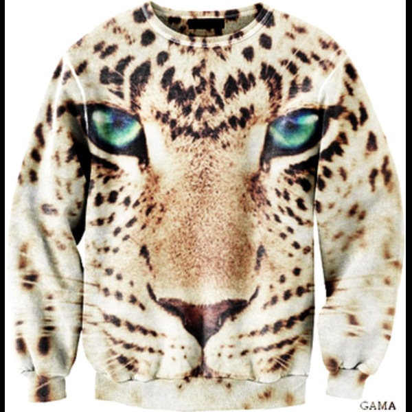 sweater blue eyes hoodie leopard print animal face print