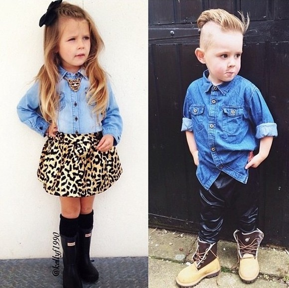 leopard print boy/girl guys girls kids fashion bows leather pants hair bow denim shirt hunter boots timberlands