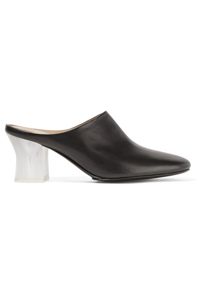 The Row Adela Leather Mules in black