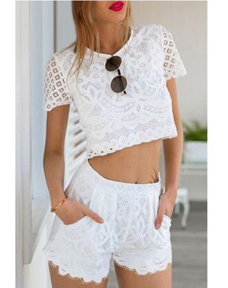 romper twinset two-piece lace crop top crop tops crop cropped lace white lace white white top shorts short shorts lace shorts white lace shorts summer summer outfits summer shorts summer top