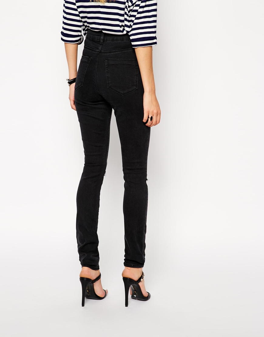 ASOS Ridley High Waist Ultra Skinny Jeans in Washed Black with Thigh Rips and Busted Knees at asos.com
