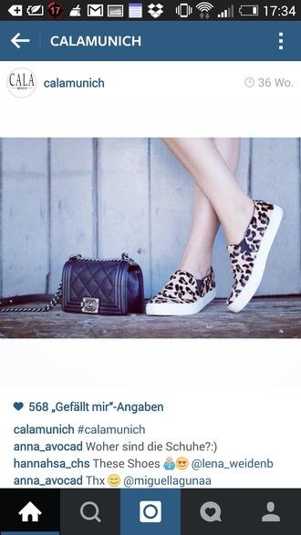 shoes leopard slip on shoes