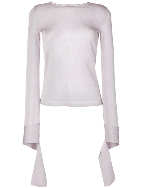 MRZ - sheer fitted top - women - Polyester/Viscose - S, Pink/Purple, Polyester/Viscose