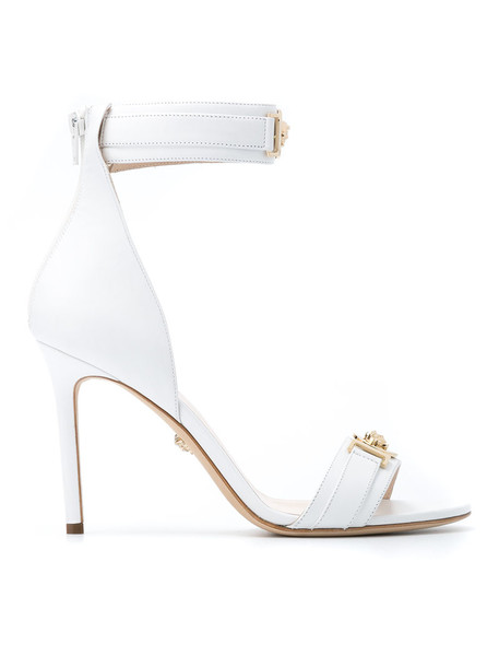 VERSACE embellished sandals women embellished sandals leather white shoes