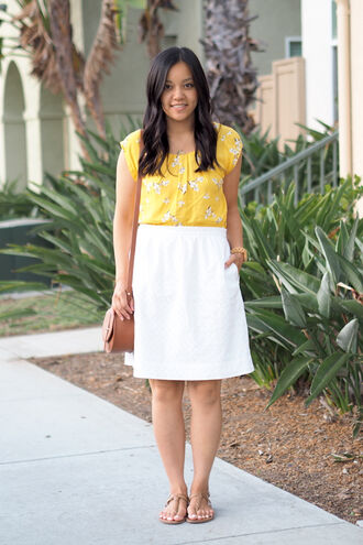 puttingmetogether blogger top skirt bag shoes jewels yellow top floral top midi skirt white skirt brown bag shoulder bag sandals flat sandals brown sandals j crew nordstrom