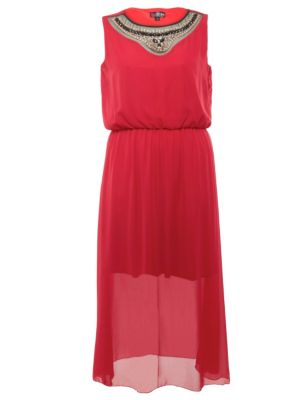 Lovedrobe Red Embellished Neck Maxi Dress