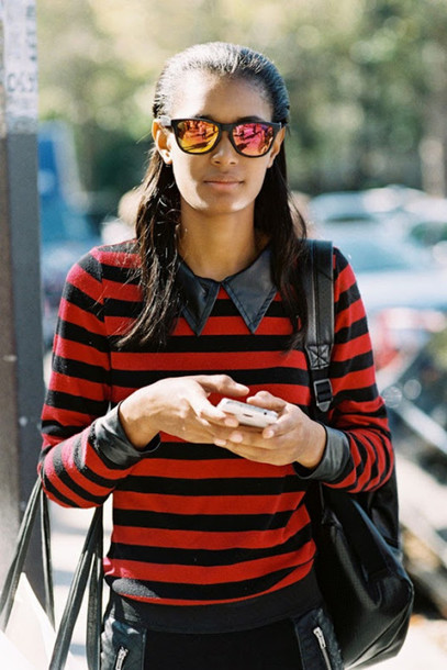 vanessa jackman blogger striped shirt mirrored sunglasses