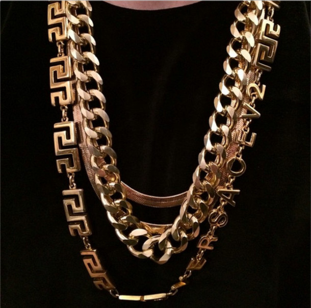 Jewels: gold, versace, gold chain, gold chain, gold ...