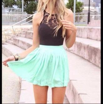 skirt mint black shirt black tank green skirt black lace mint skirt crop tops lace top