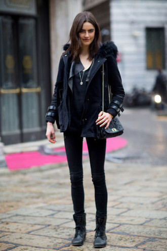 coat milan fashion week 2016 black navy coat streetstyle parka womens parka fur coat striped coat belt