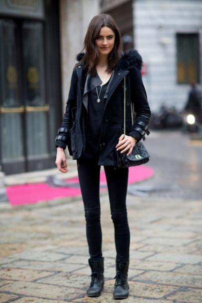 coat milan fashion week 2016 black navy coat streetstyle parka womens parka fur  coat striped coat f0e60ff931