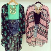 blouse,shorts,shirt,sweater,jewels,aqua,cardigan,t-shirt,green kimono,floral kimono,tribal pattern,gold jewelry,jeans,kimono,top,aztec,print,turquoise,jacket,tank top,flower cardigan,floral pattern kimono,bohemian pattern kimono,pretty,cute dress,clothes,fashion,teenagers,style,dress,mint,pink,black,necklace,coat,blue