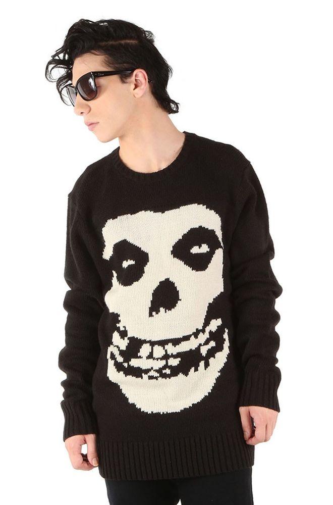 Iron Fist x Misfits Skull Logo Crimson Crew Men's Knit Sweater - Black