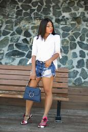jadore-fashion,blogger,jeans,shirt,bag,shoes,blue bag,sandals,white shirt,denim shorts