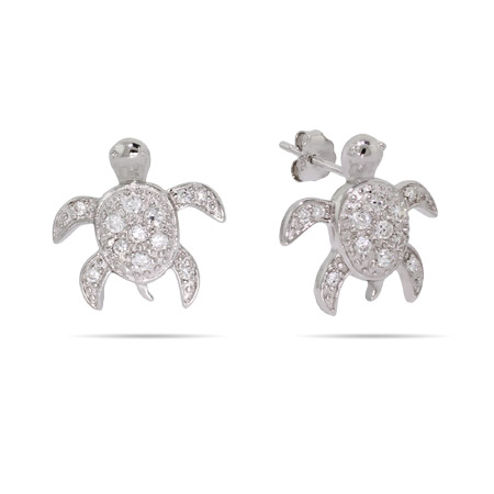 Sterling Silver Jewelry - Sterling Silver CZ Sea Turtle Earrings