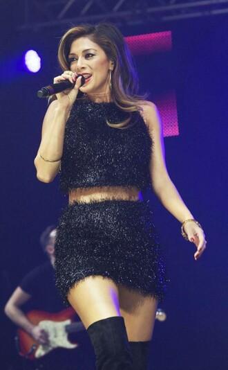 skirt top nicole scherzinger black faux fur party outfits mini skirt crop tops