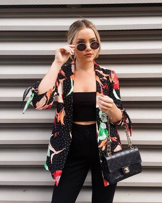 jacket top black pants tumblr blazer printed blazer bag black bag black crop top crop tops
