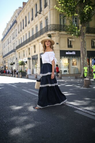 memorandum blogger skirt dress blouse shoes bag hat maxi skirt blue skirt basket bag summer outfits