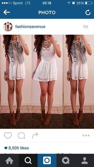 dress lace dress peplum white dress cute dress cute outfits boots ankle boots booties shoes denim jacket jacket vest spring outfits summer dress summer outfits outfit outfit idea date outfit party outfits short dress party dress jewelry jewels necklace statement necklace accessories bracelets