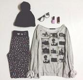 t-shirt,pants,sunglasses,pom pom beanie,photography,hipster,black beanie,glasses,hipster wishlist,outfit,ebay