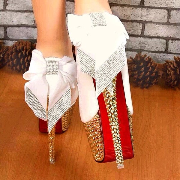 Shoes: gold, sparkle, high heels, bows, blouse, white, red bottoms ...