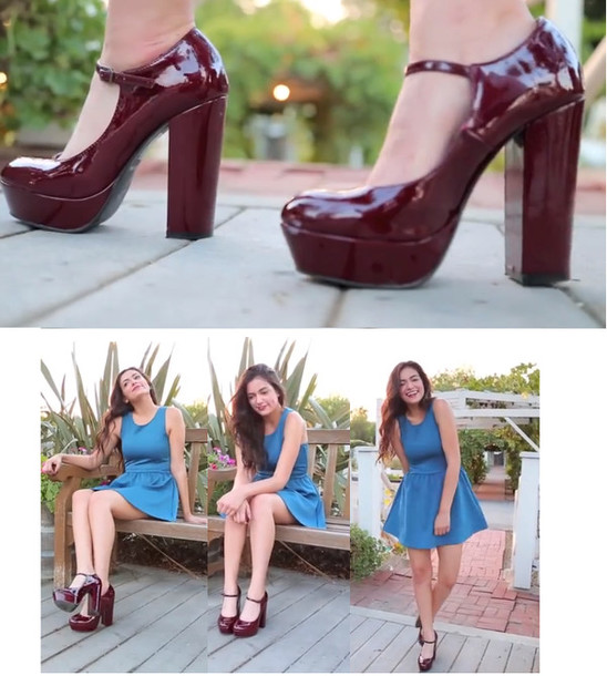 Shoes: burgundy, heels, high heels, platform shoes, platform shoes ...