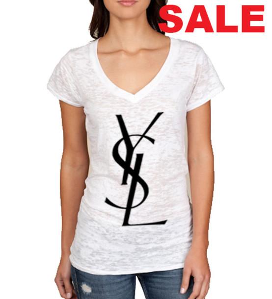 T Shirt Ysl Ysl T Shirt Deep Vneck Burnout V Neck