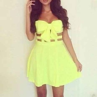 yellow bow dress cut-out
