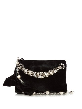 embellished pouch velvet black bag