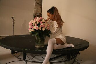 ariana grande white dress sweater sweater dress knee high socks