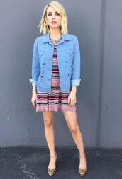 jacket,emma roberts,dress,knitwear,top,skirt,sweater,pumps,instagram,stripes,striped dress