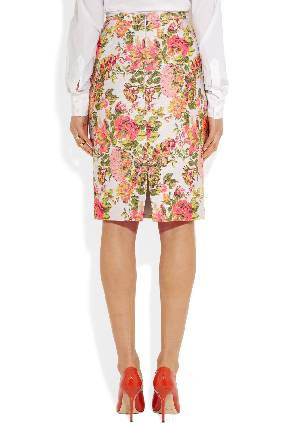 Stella mccartney neon floral jacquard pencil skirt – 65% at the outnet.com