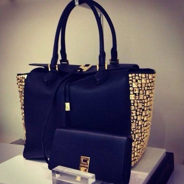 bag black bag beautiful studs leather tote bag black and gold wallet amazing handbag black leather tote pretty swag leather tote bag gold studded classy big black bag gold studs gold black and golden blue michael kors