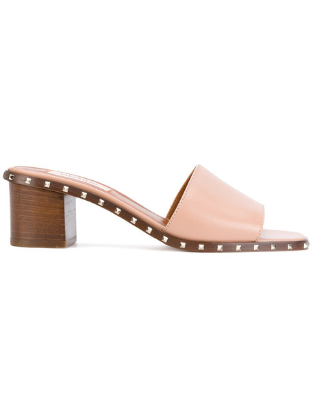 women mules leather nude shoes
