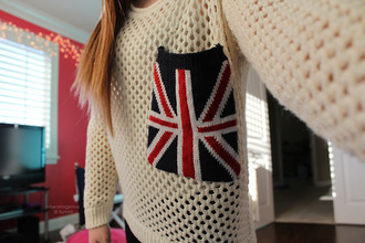 sweater london uk flag united kingdom white knitwear winter sweater union jack pocket sweater pockets red blue england pocket t-shirt