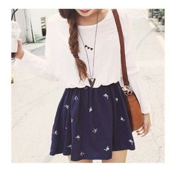 top triangle necklace cute skirt birds