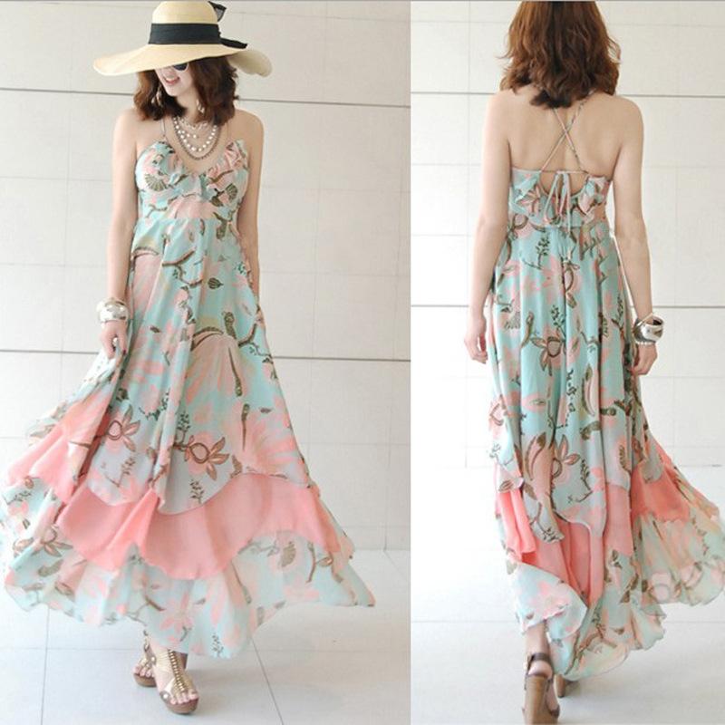 Bohemian chiffon dress tube sling beach skirt  on luulla