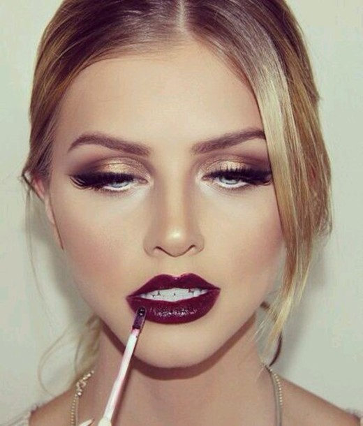 make-up eye shadow lipstick dark lipstick prom beauty