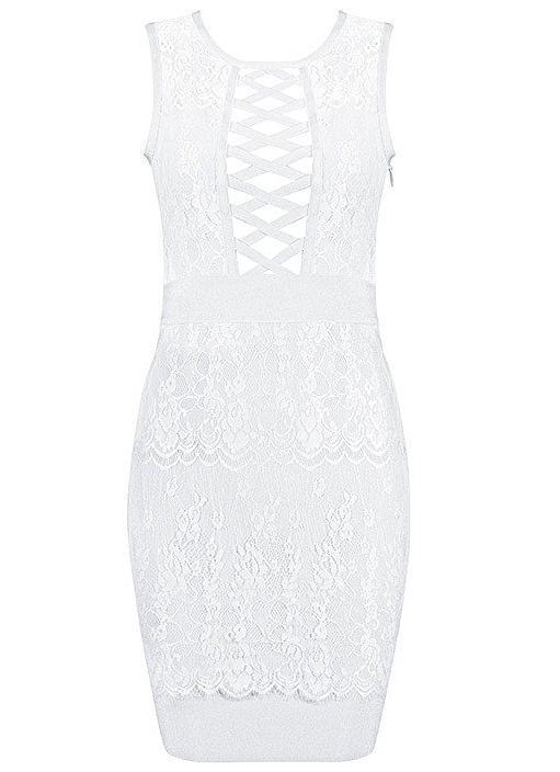 Lace Up Lace Bandage Dress White