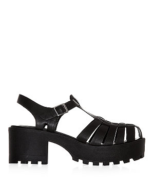 Black gladiator strap cleated sole chunky sandals