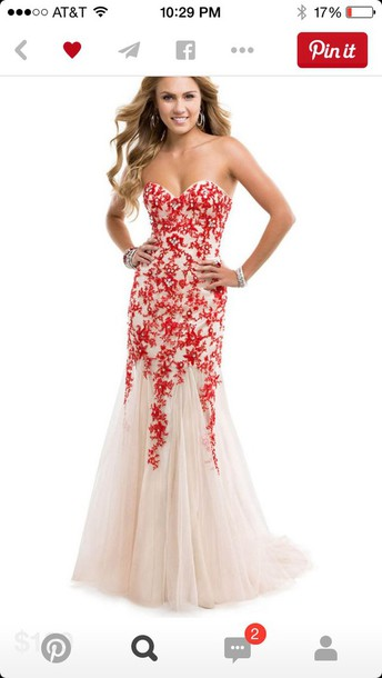 dress nude and red corset tulle promdress