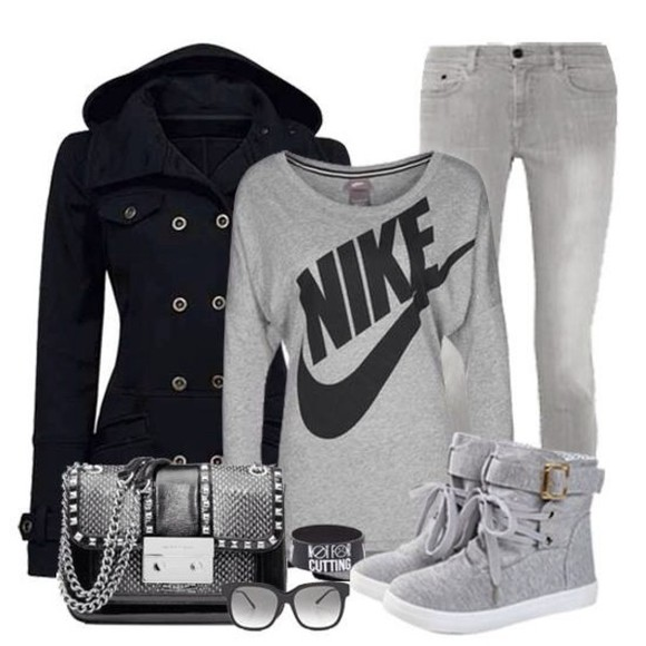 bag purse outfit shoes shirt grey sweater jacket nike
