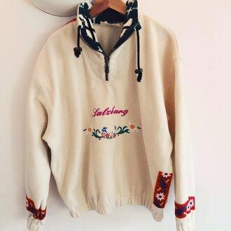 sweater fleece salzburg austria skiing daisy cream jumper apres ski