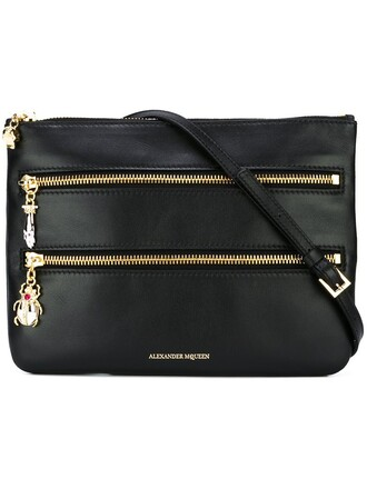 zip women triple bag crossbody bag black