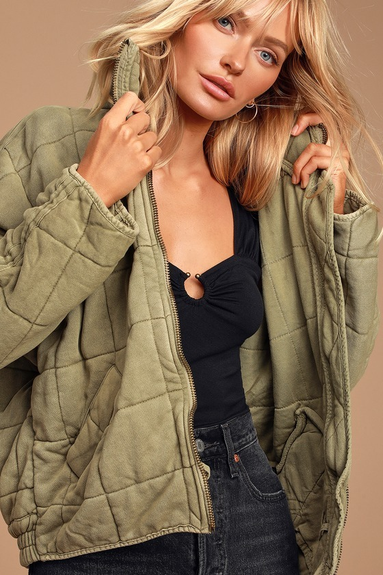 Dolman Olive Green Quilted Jacket