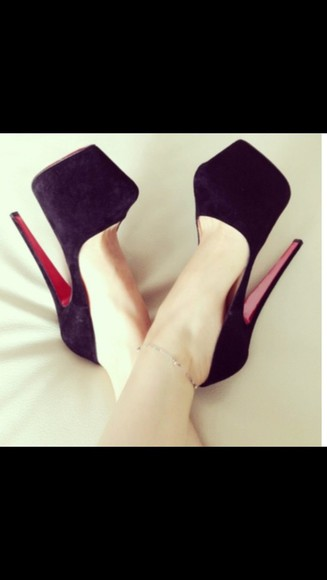 shoes christian louboutin black red bottom heels stilettos sexy suede shoes suede party shoes