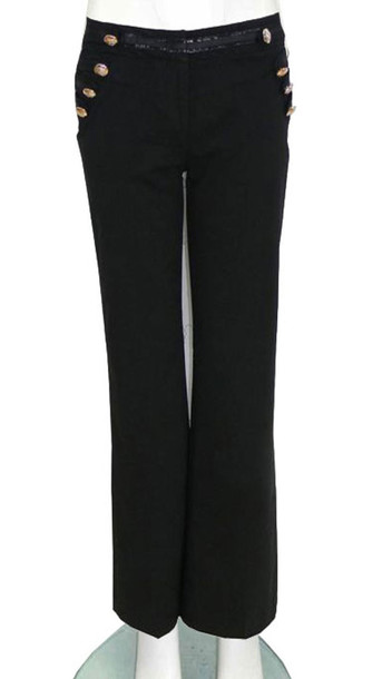 Jeans: womens non stretch studs trouser black - Wheretoget