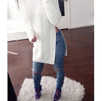 sweater white sweater side slit